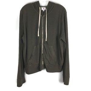 Sundry Zip Up Long Sleeve Hoodie in Brown Size 3